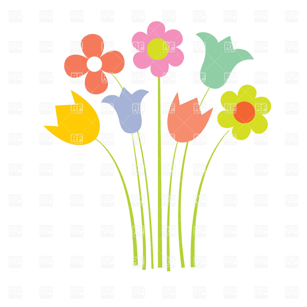 Wild Flower Clip Art Cartoon Wildflowers In Simple Style Plants And