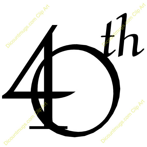 40th Anniversary Clip Art Fortieth   A Big Number 40th
