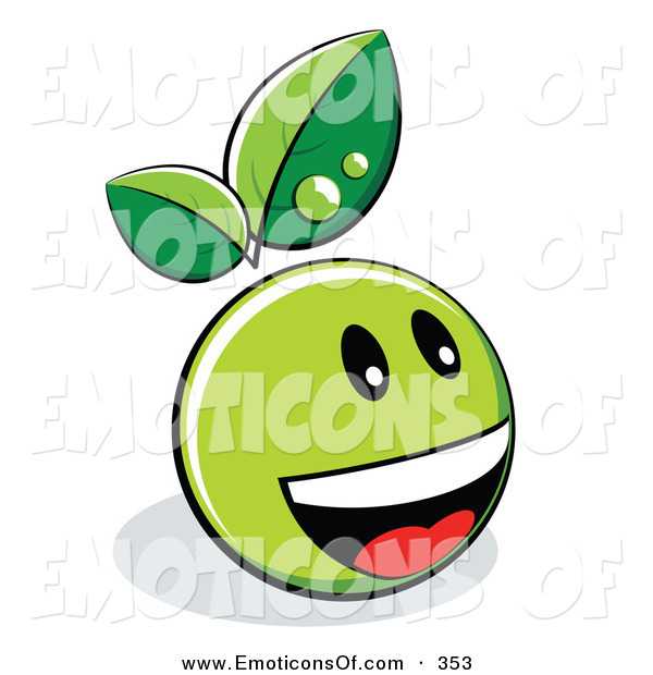 Art Vector Of A Green Organic Smiley Ball With Leaves Laughing