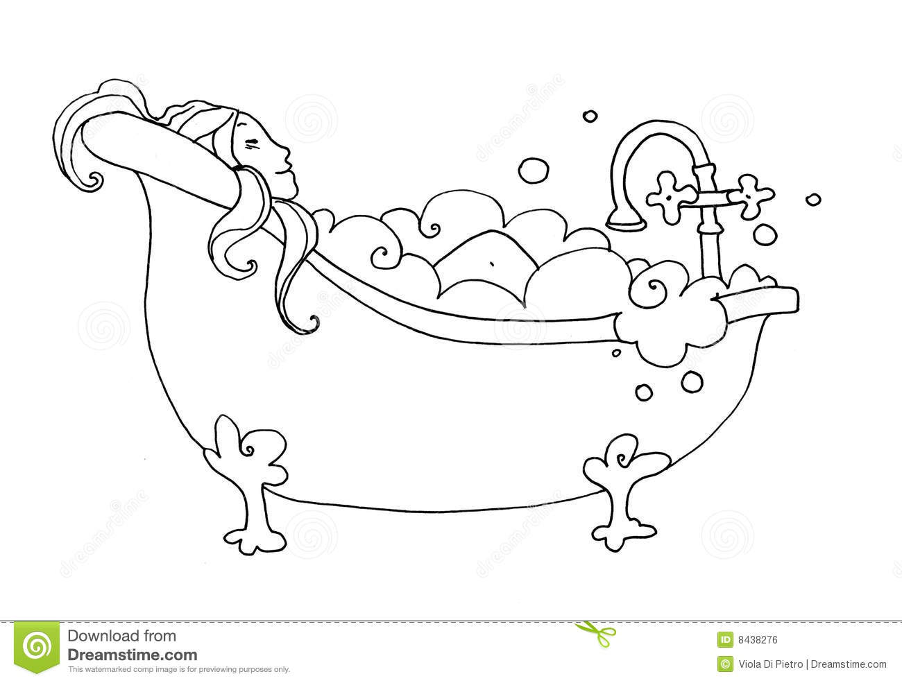 Black And White Illustration Of A Smiling Woman Who Take A Bath