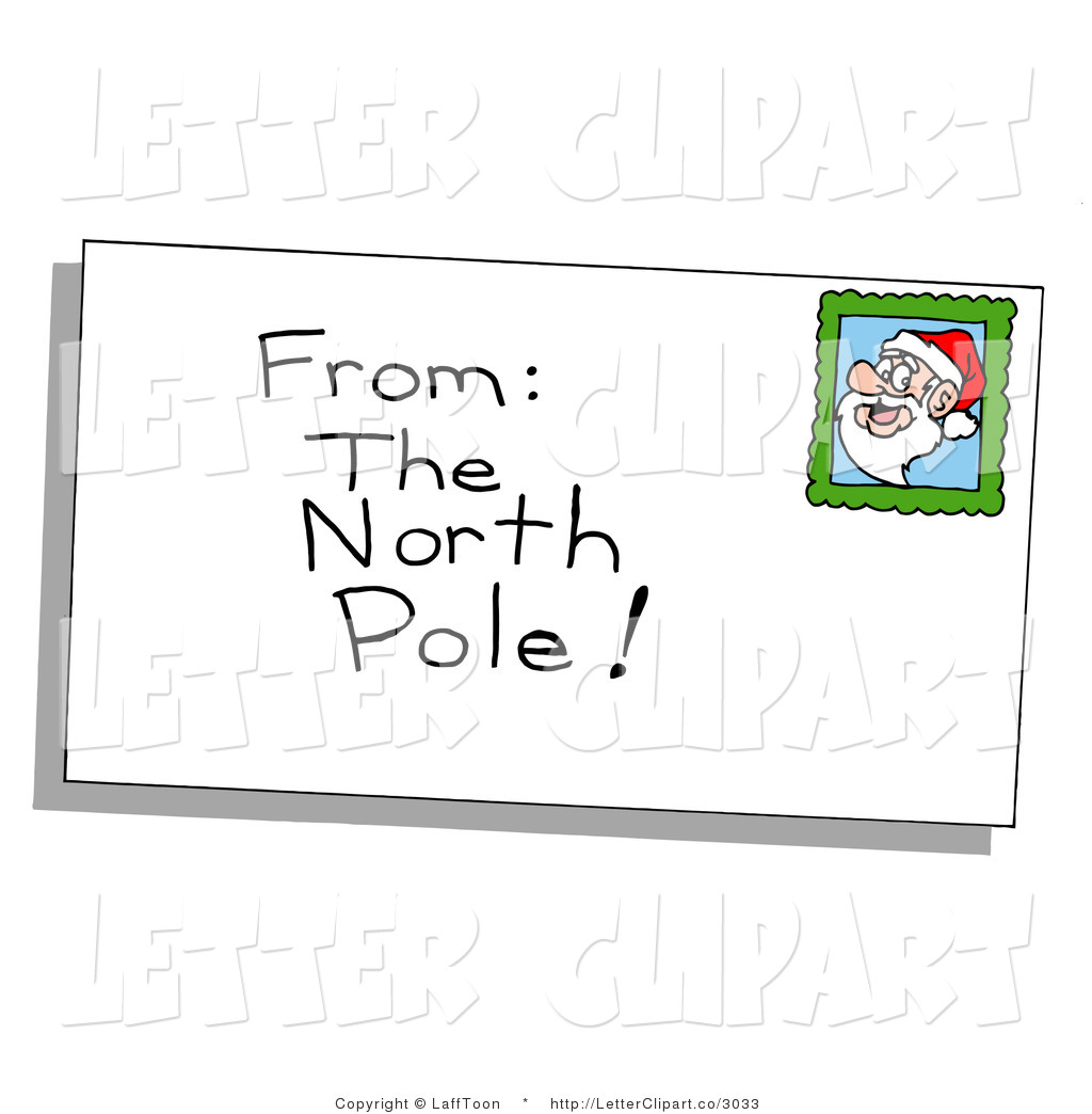 Clip Art Of A Christmas Envelope From The North Pole With A Santa