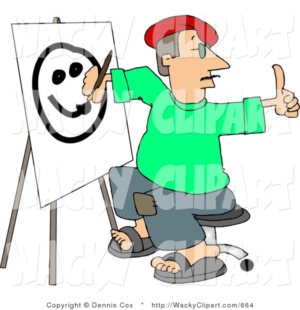 Clipart Of A Male Caricature Artist Drawing A Smiley Face On Canvas
