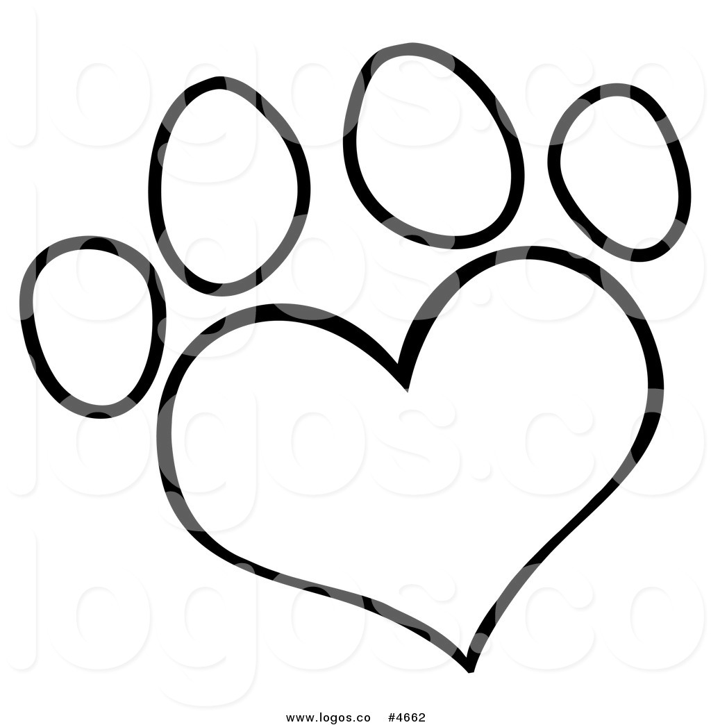 Black And White Dog Paw Clipart Print