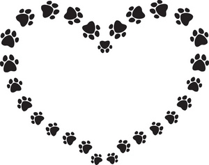 Prints Image Black And White Puppy Dog In A Heart Clipart   Free Clip