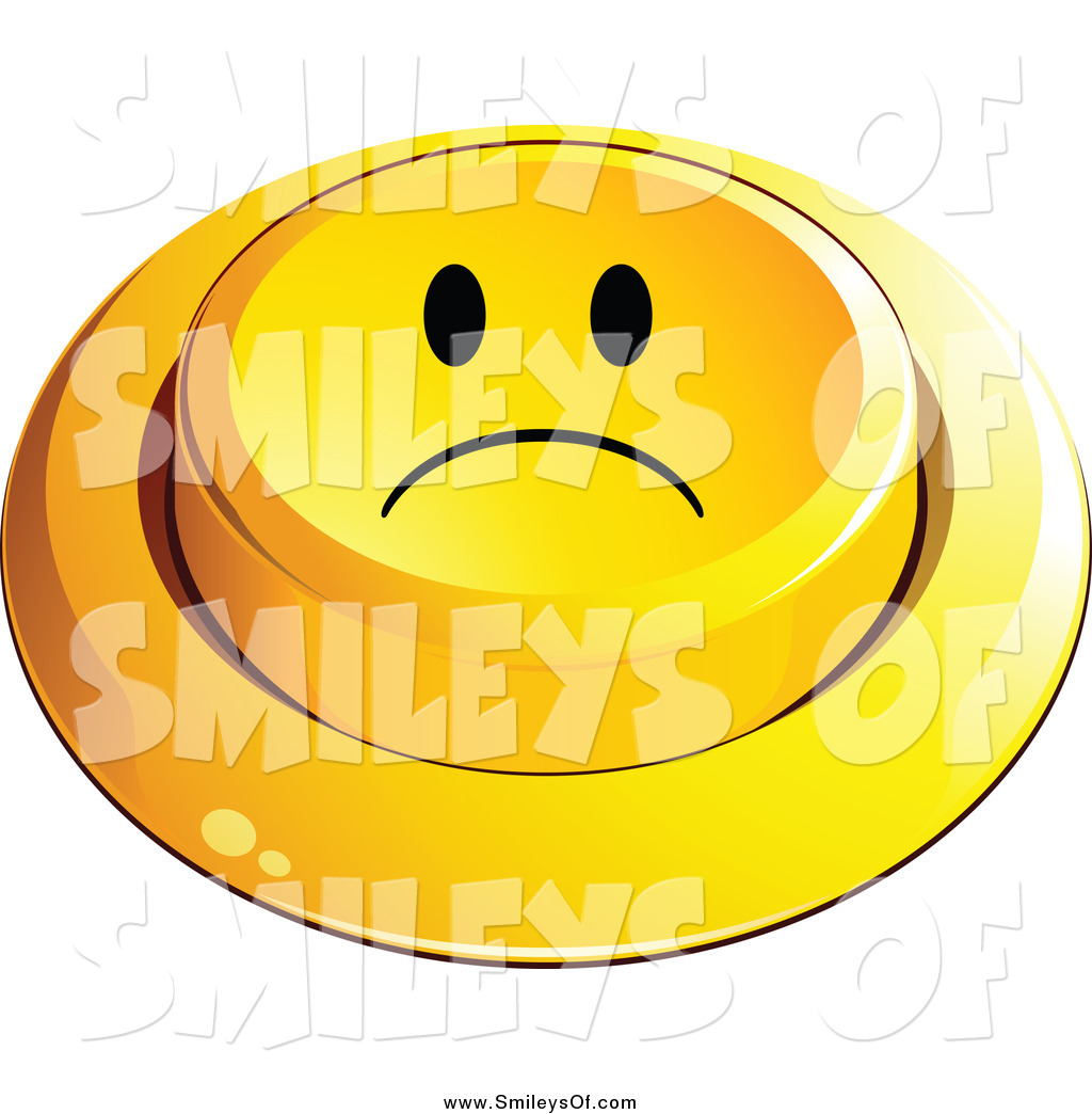Sad Button Smiley Face 3d Pushed Sad Smiley Button Frowning Smiley