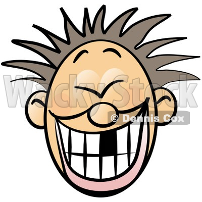 Smiley Faced Boy With Spiky Hair And Missing Tooth Clipart
