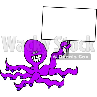 Smiley Octopus Holding A Blank Sign Clipart   Dennis Cox  4878