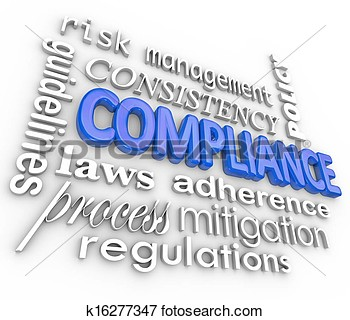 The Word Compliance In Blue 3d Letters Surrounded By Related Terms