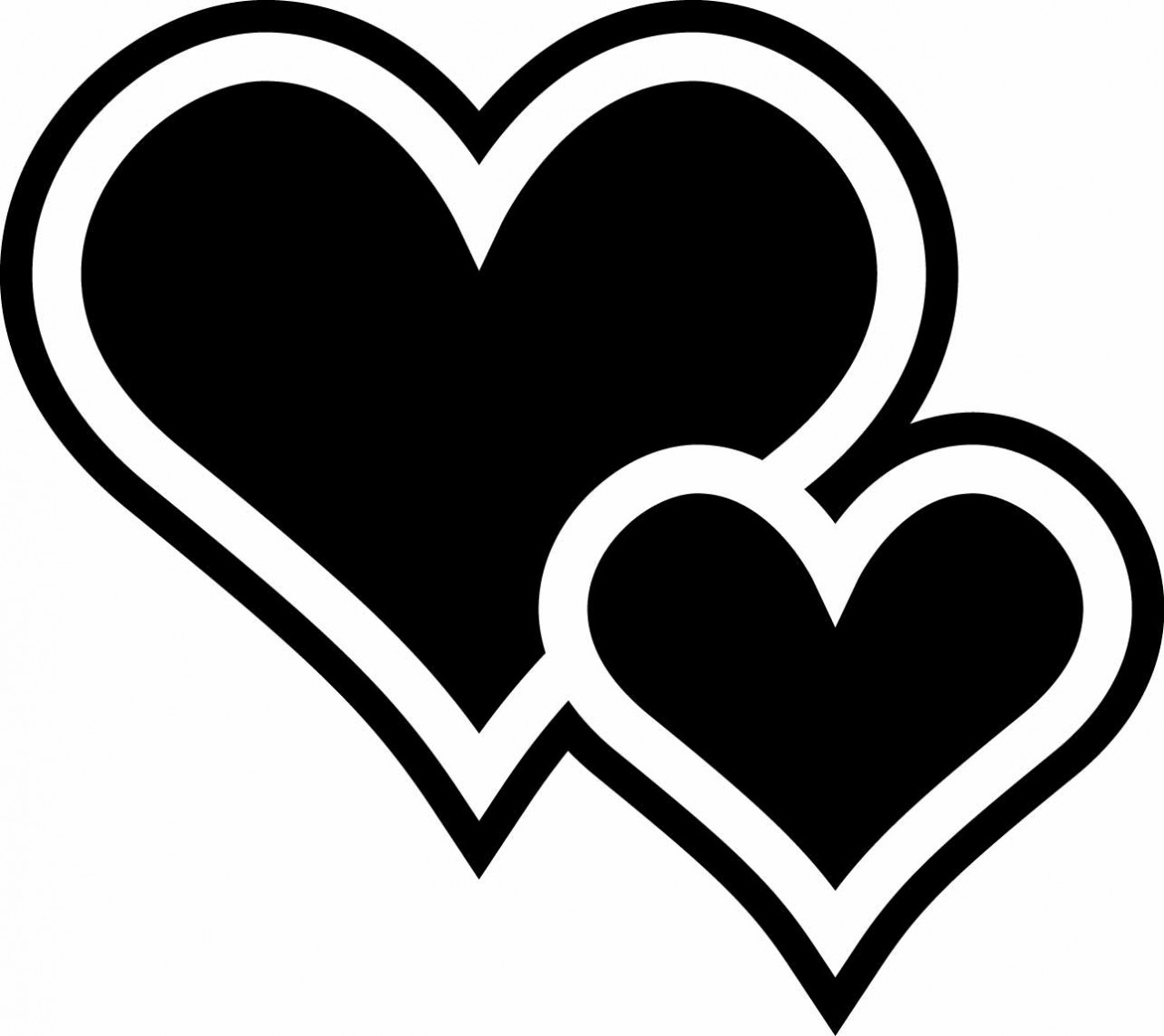 Two Hearts Black Clipart - Clipart Kid