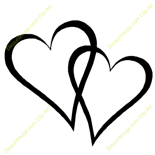Two Hearts Clipart Black And White 2 Hearts Clip Art