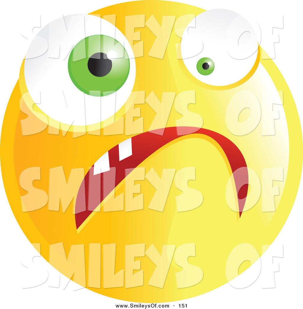 Vector Of A Yellow Nervous Emoticon Face With Wacky Eyes By Prawny