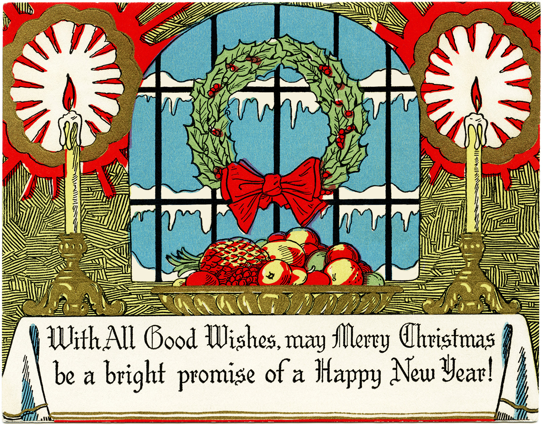Wreath Candles Fruit Christmas Card   Free Vintage Image   Old Design