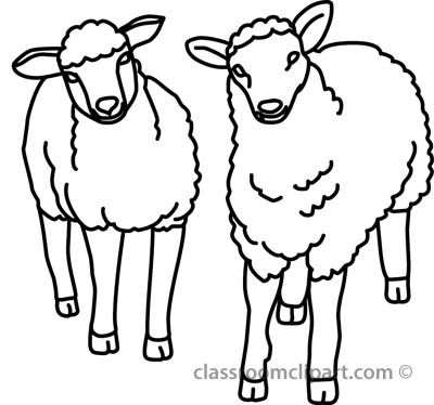 Animals   Two Sheep Outline   Classroom Clipart