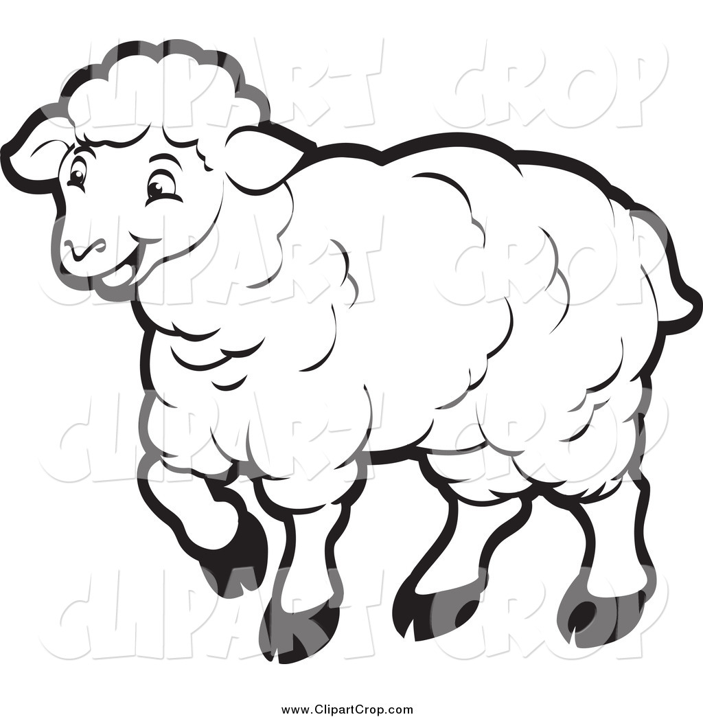 Art Vector Of A Happy Sheep In Black And White By Lal Perera    913