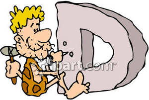 Caveman Carving The Letter D   Royalty Free Clipart Picture