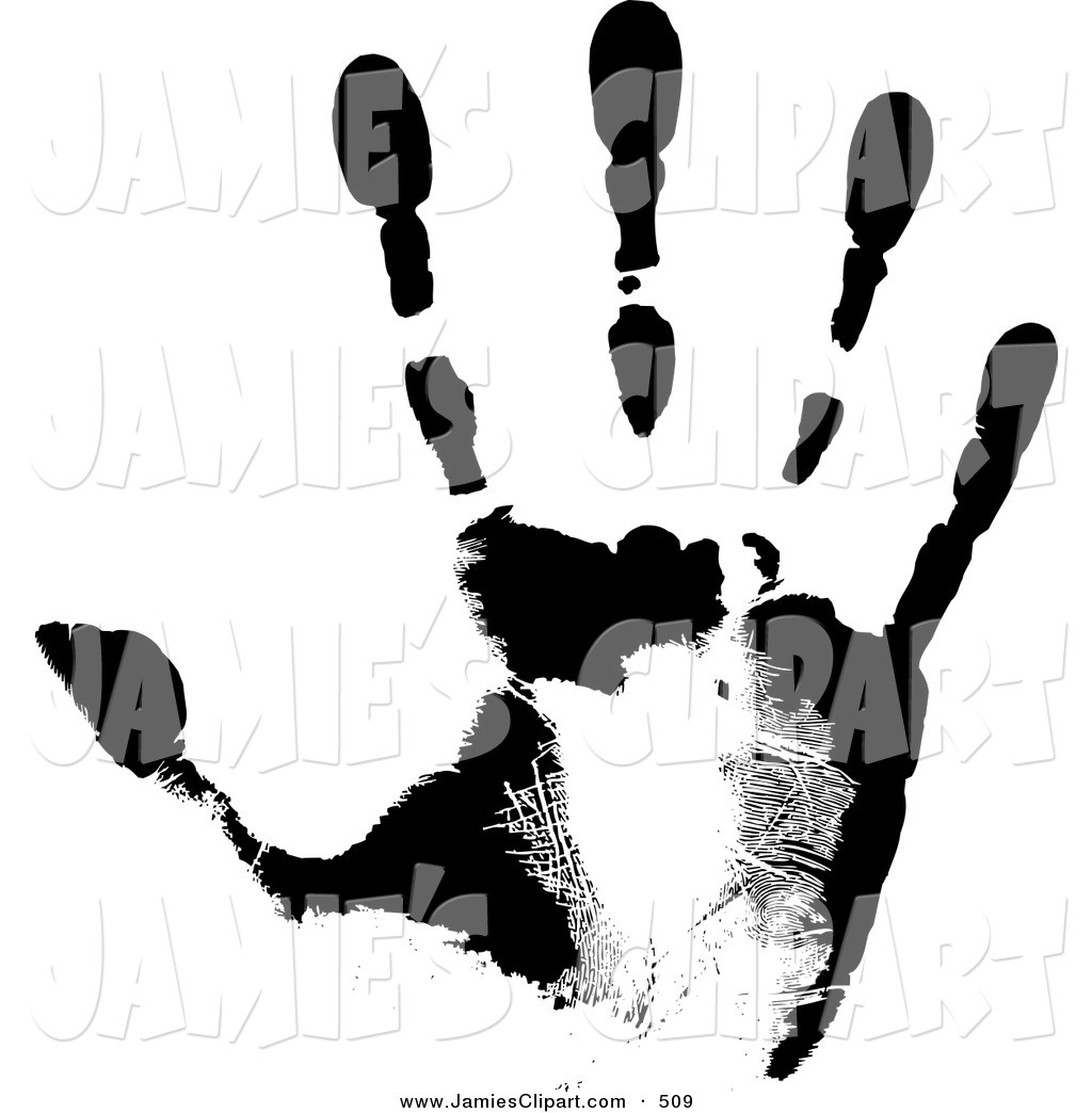 Clip Art Of A Black Hand Print Showing The Skin Patterns On White By