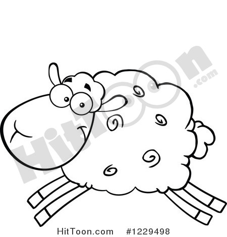 Clipart Of A Black And White Sheep Leaping   Royalty Free Vector
