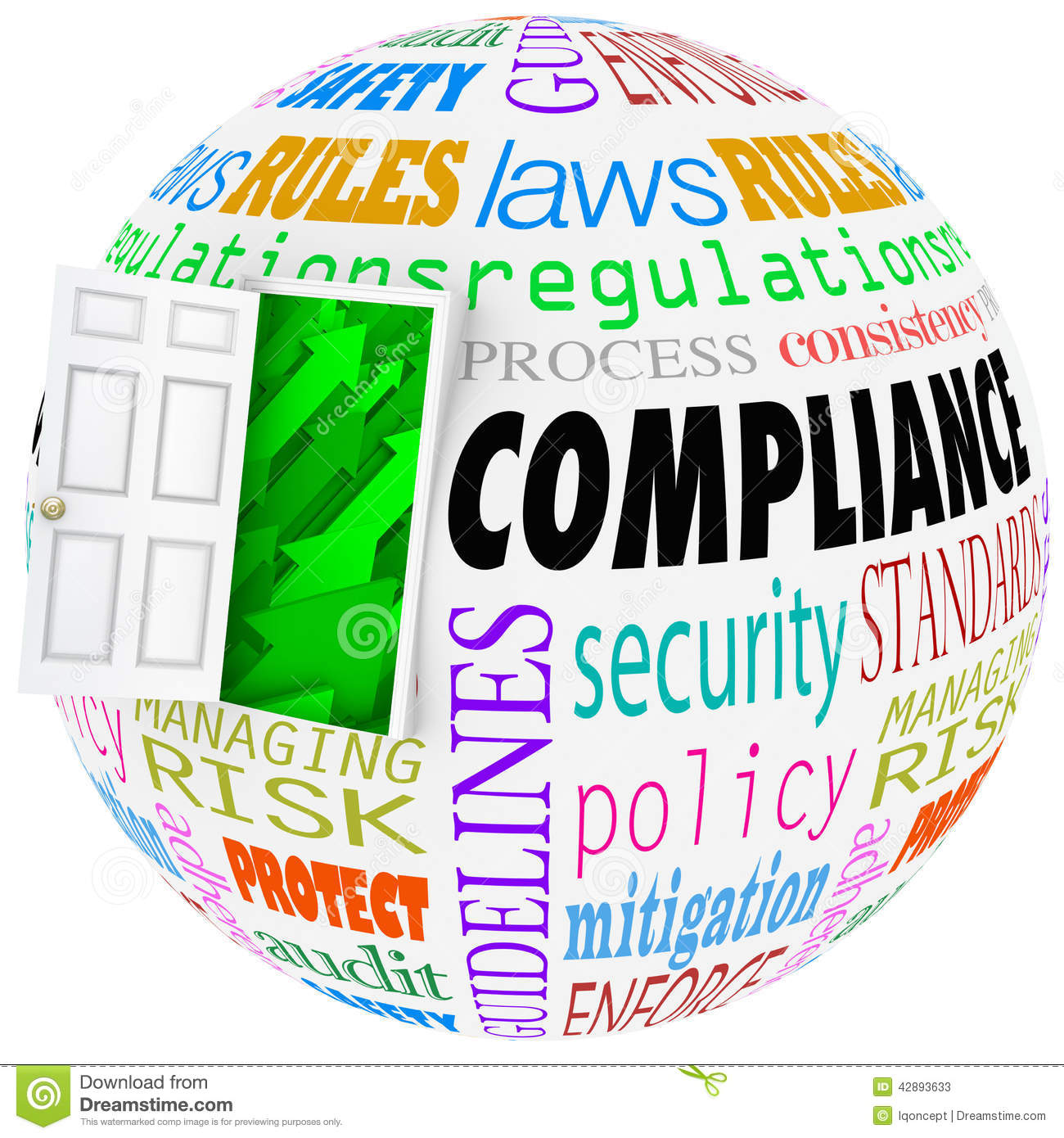 Compliance Words Sphere Following Rules Regulation Stock Illustration