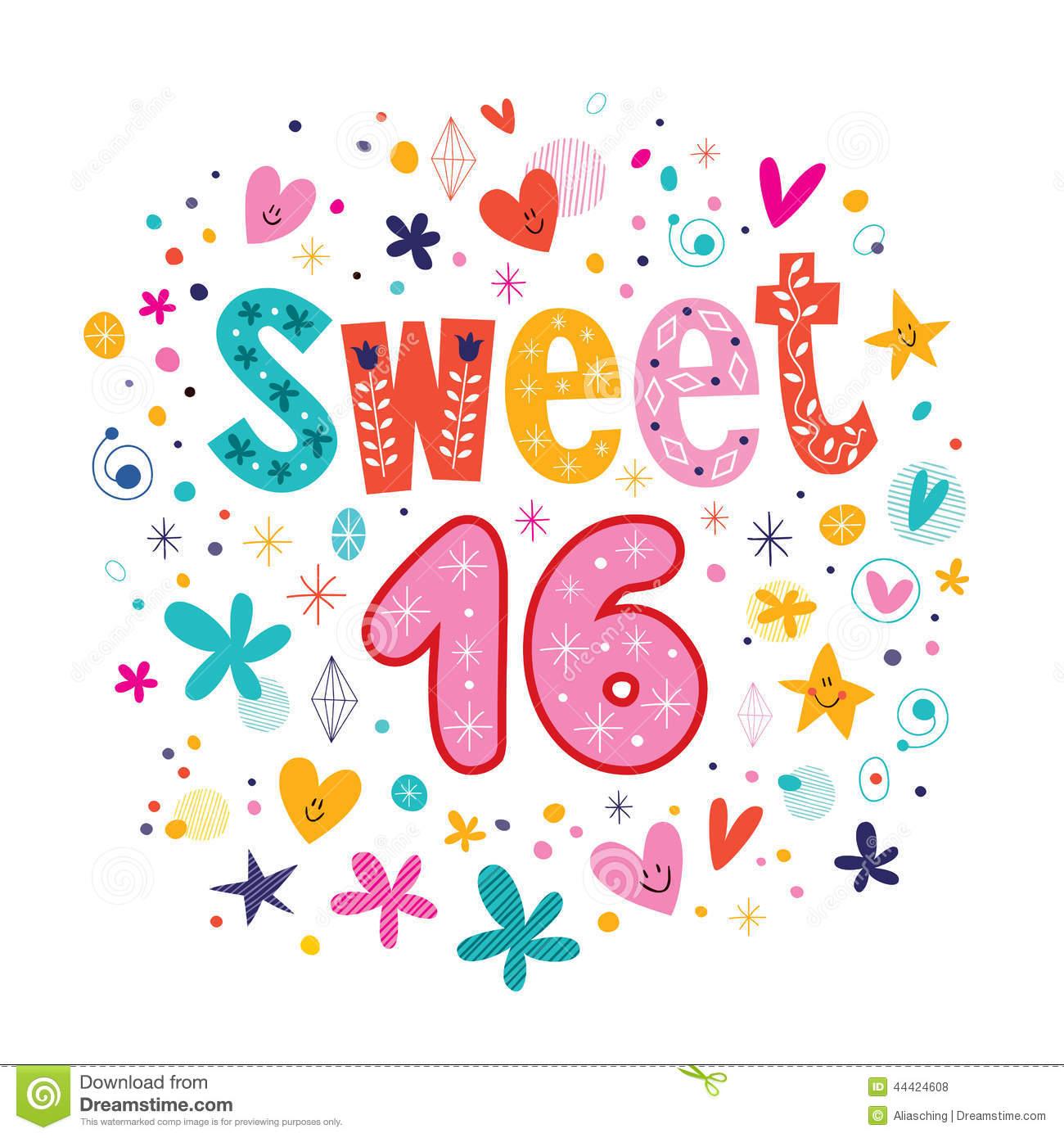 Sweet 16 Clipart 16th birthday clipart - clipart kid