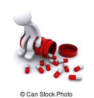 Sick 3d Character Sitting On Pill Pot Stock Illustration