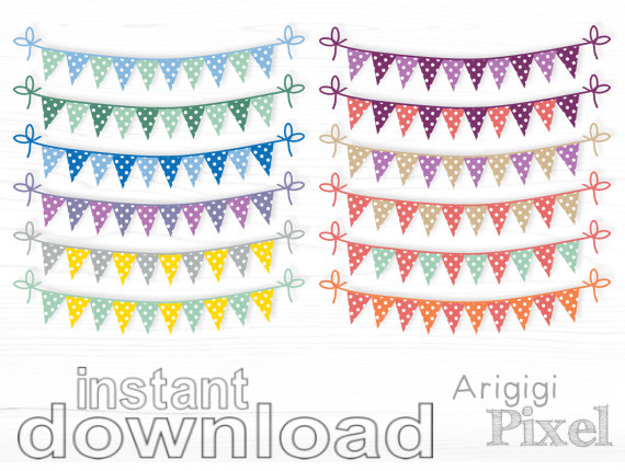 Bunting Clipart Set Polka Dots Clip Art Party Banner Set Of 12