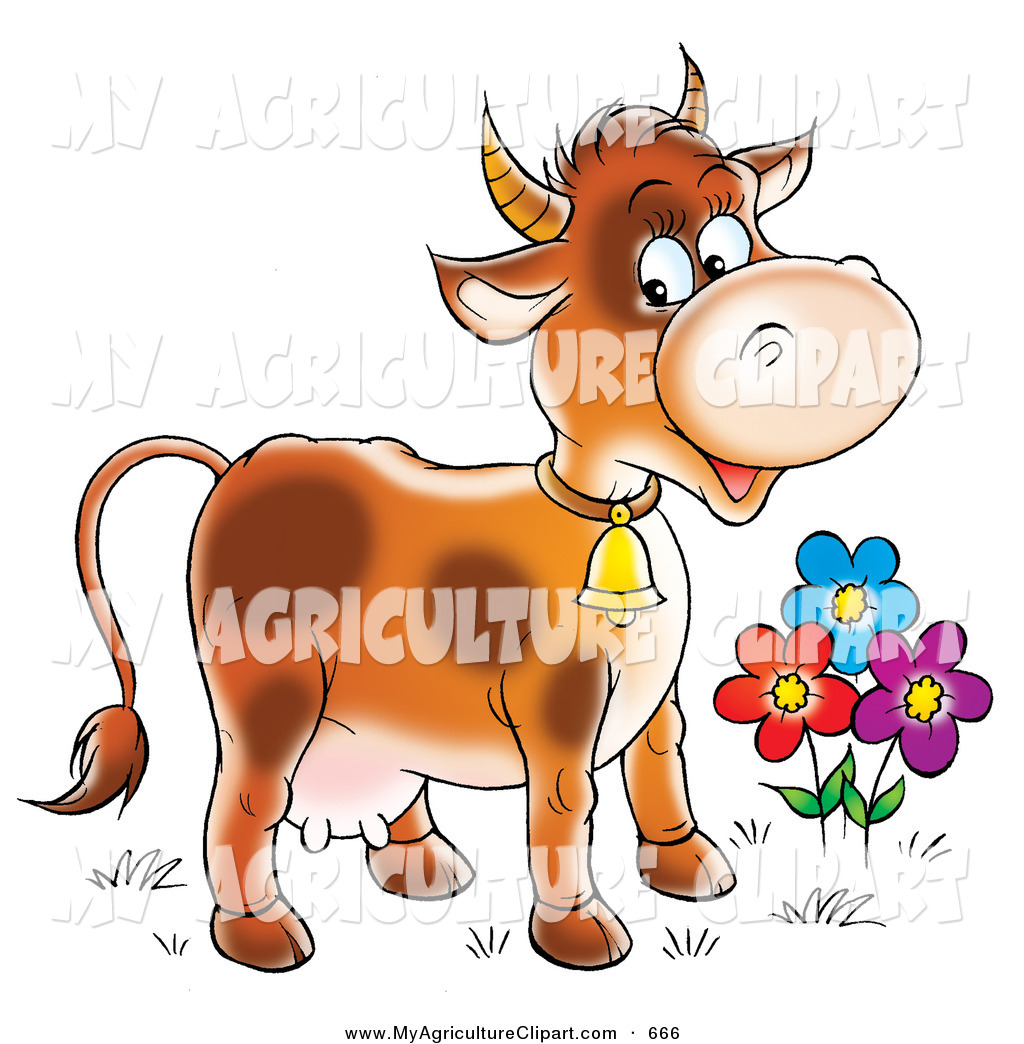 Clipart Of A Cute And Happy Farm Cow With Spots Wearing A Bell