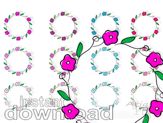 Clipart Pink Purple Blue Colors Round Frame Commercial Use Clipart
