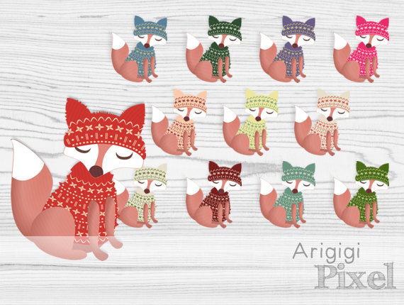 Dressed Fox Clipart Fox In Sweater With Winter Cap Winter Clip Art