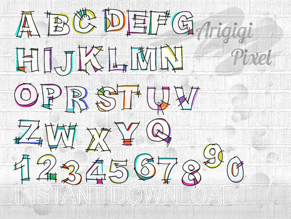 Hand Drawn Alphabet Clip Art Set  Hand Sketched Alpha Clipart