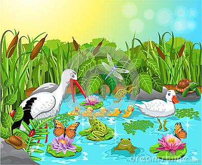 Illustration Of Wild Life In The Pond With Lots Of Cute Animals