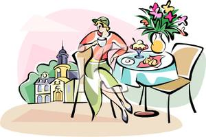 Of A Woman Eating At A French Bistro   Royalty Free Clipart Picture