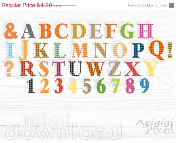 On Sale 50   Off Alphabet Clip Art Set  Gingham Alpha Clipart Warm