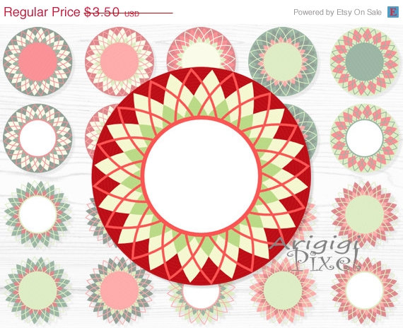 On Sale 50   Off Diamond Circle Clip Art Set Checkered Wreath Round