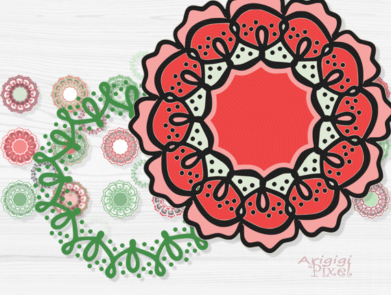 On Sale 50   Off Retro Flowers Clip Art Set Funky Wreaths Photoshop