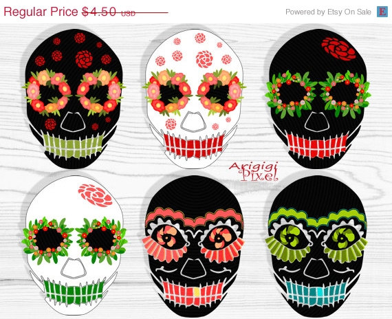 On Sale 50   Off Sugar Skull Clip Art Set  6 Images Black White