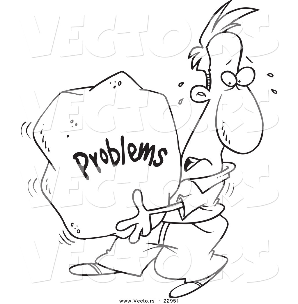 Rock Clip Art Free Vector Of A Cartoon Man Carrying A Heavy Problem