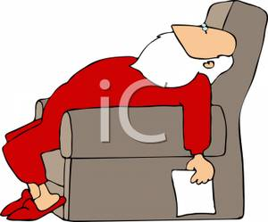 Santa Claus Sleeping In A Chair   Royalty Free Clipart Picture