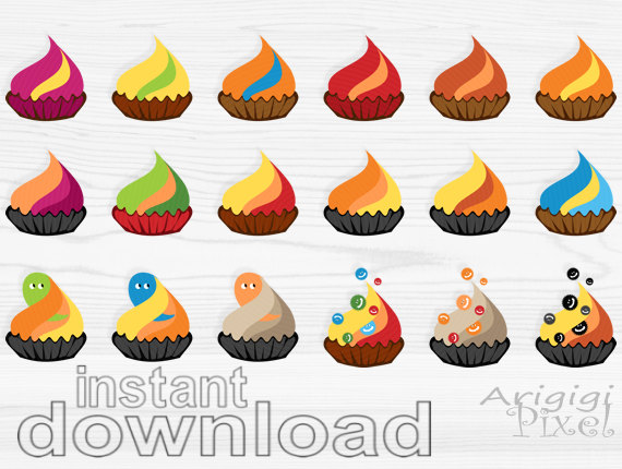 Set Halloween Digital Clipart Colorful Graphics Smal Bussines Use