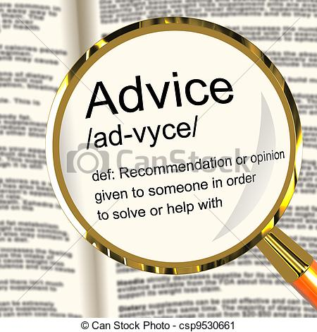 Stock Illustration   Advice Definition Magnifier Shows Recommendation