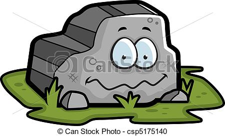 Vector Clipart Of Rock Smiling   A Cartoon Gray Rock Smiling And Happy