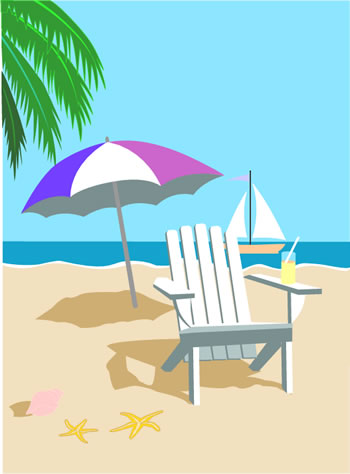 Beach Chair Sailboat Cool Drink And Umbrella Make The Perfect