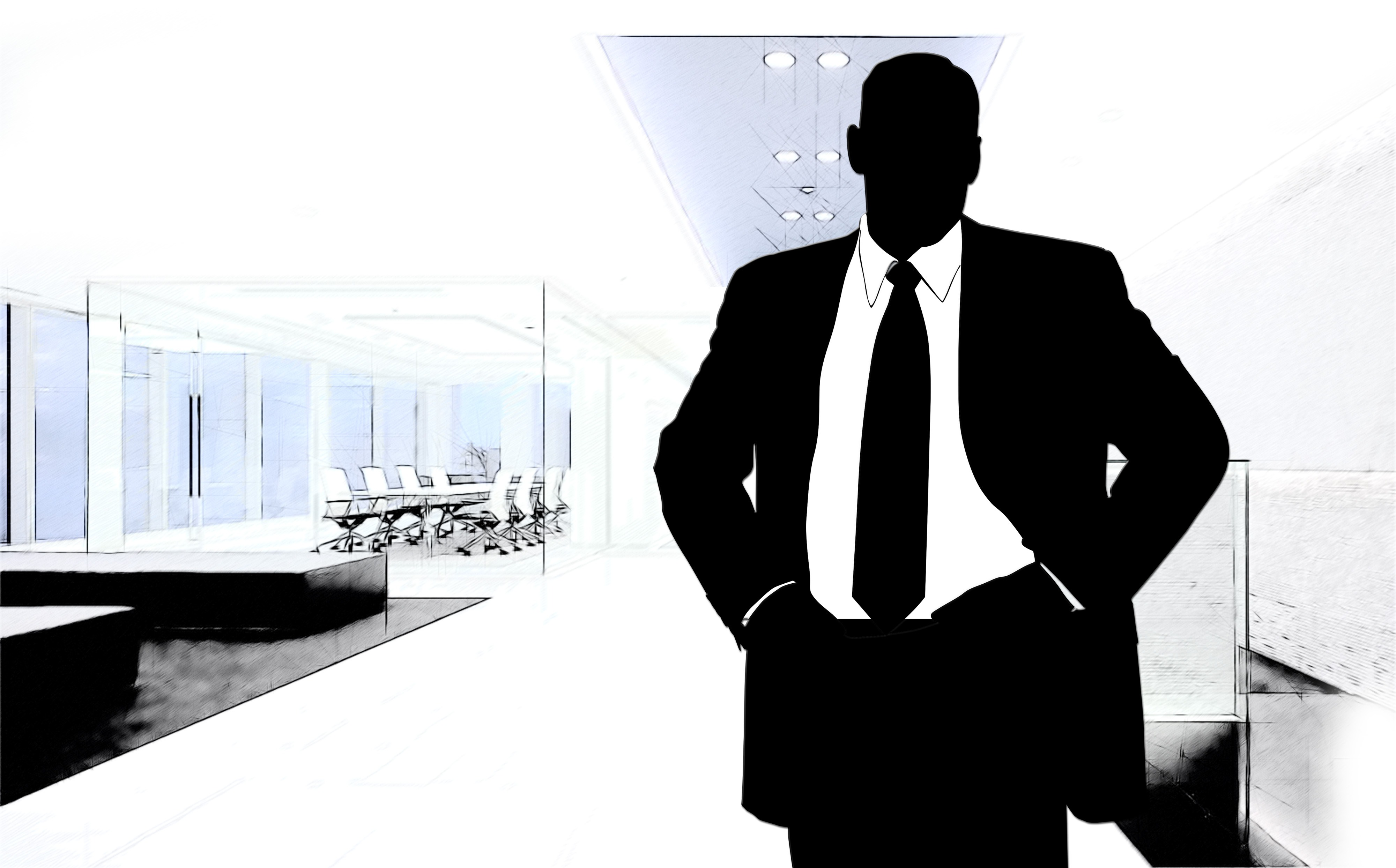 Business Man And Officeoutline Clipart