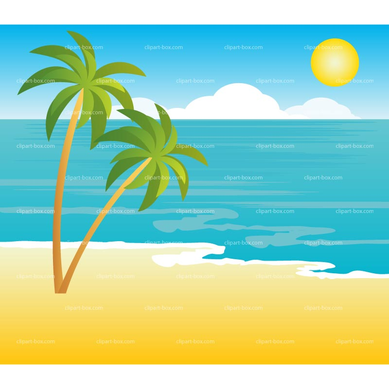 Clipart Tropical Landscape   Royalty Free Vector Design