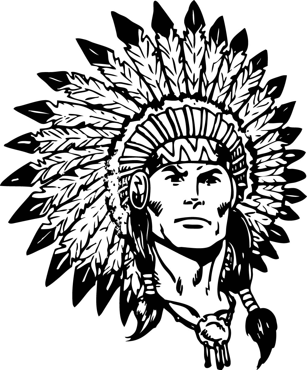 Red White Indianhead Indian With Black Background Jn Indian Logo Jpg