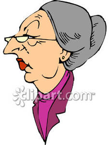 Stern Looking Old Woman   Royalty Free Clipart Picture