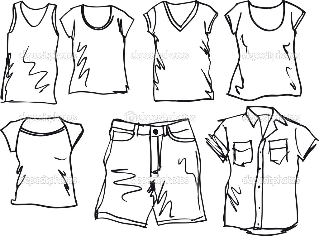 Summer Clothing Sketch Collection  Vector Illustration   Stock