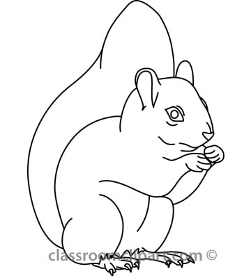 Animals   Squirrel 314 01 Outline   Classroom Clipart