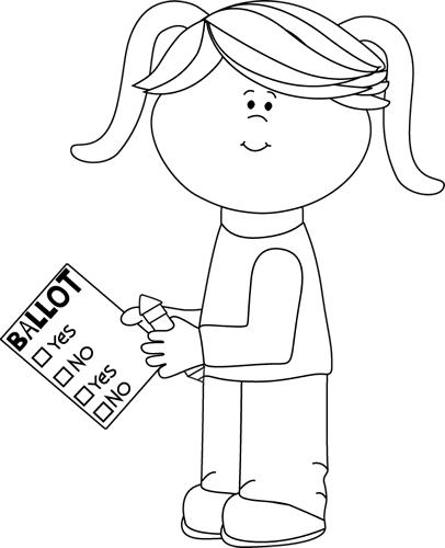 Black And White Girl With Voting Ballot Clip Art   Black And White
