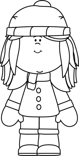 Black And White Winter Girl Clip Art   Black And White Winter Girl
