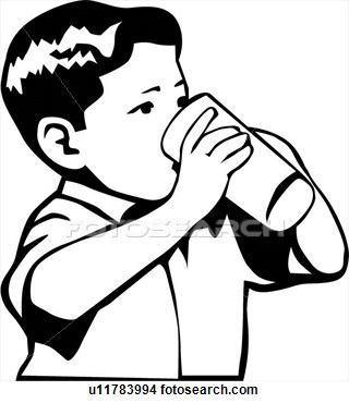 Boy Drinking View Large Clip Art Graphic